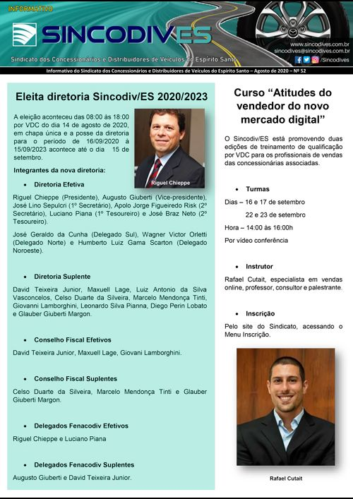 Informativo do Sincodives - Agosto de 2020 - Nº 52